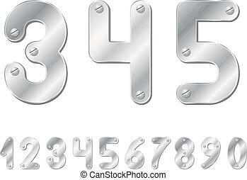 números, metálico