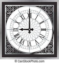 números, oro, reloj, patrón, huésped, metal, romano, lujo,...