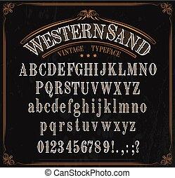 números, señales, occidental, alfabeto, tipografía, fuente
