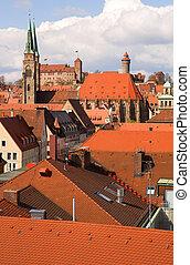 nürnberg, bayern, bird\'s-eye, roofs., deutschland, ansicht