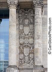 německo, berlín, -, říjen, 02, 2016:, reichstag, budova, do, berlín, germany., věnování, dále, ta, vlys, majetek, do, ta, němec, národ.