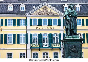 německo, bonn, munsterplatz, beethoven, pomník