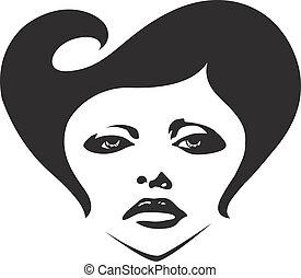 nő, ábra, arc