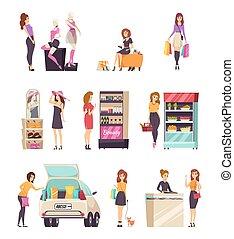 nő, állhatatos, bevásárlás, vektor, fedélzeti áruellátmány, bevásárol