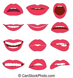 nő, állhatatos, ikonok, ajkak, vektor, kifejezés
