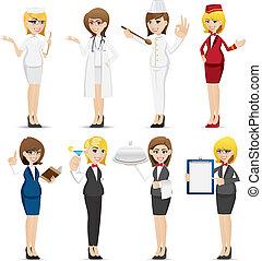 nő, állhatatos, karikatúra, foglalkozás