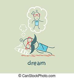 nő, álmodik, ember