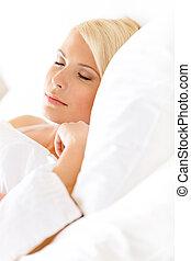 nő, álmos, feláll, ágy, becsuk, kilátás