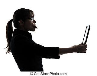 nő, árnykép, ügy, tabletta, kiszámít, számítógép, digitális