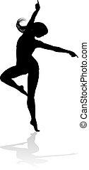 nő, árnykép, tánc