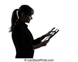 nő, árnykép, tabletta, ügy, kiszámít, gépelés, elszigetelt, egy, számítógép, műterem, háttér, digitális, fehér
