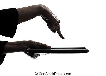 nő, árnykép, tabletta, kiszámít, gépelés, elszigetelt, kéz, számítógép, műterem, háttér, digitális, fehér, egy