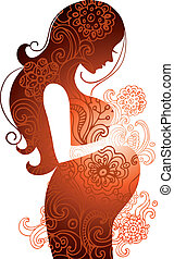nő, árnykép, terhes