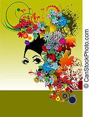nő, árnykép, virágos