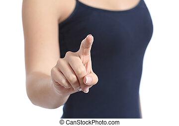 nő, átvizsgálás, begombol, tényleges, kéz, becsuk, kényelmes