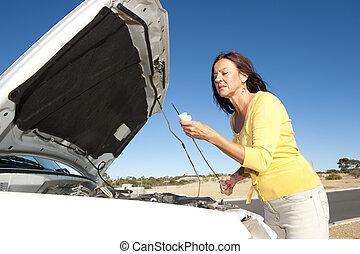 nő, átvizsgálás, olaj, autó