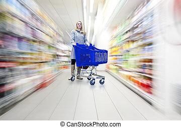 nő, élelmiszer áruház