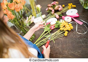 nő, éles, virág megakaszt