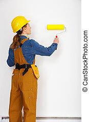 nő, építő