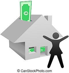 nő, épület, jelkép, munka, megtakarítás, jövedelem, otthon,...
