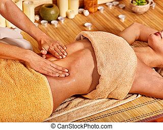 nő, ért masszázs, alatt, bambusz, spa.
