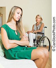 nő, és, fogyatékos, női, birtoklás, vita