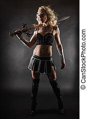 nő, és, kard