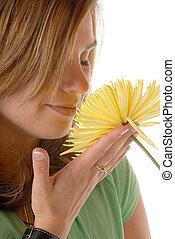 nő, és, virág