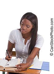 nő, íróasztal, amerikai, hallgató, afrikai