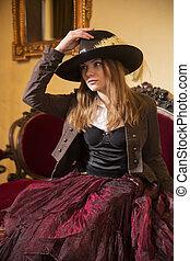 nő, öltözött, -ban, ódivatú, ruha