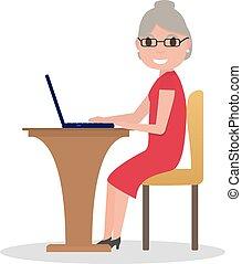 nő, öreg, ülés, laptop, vektor, íróasztal, karikatúra