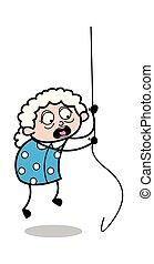 nő, öreg, függő, -, ábra, odaköt, vektor, nagymama, karikatúra