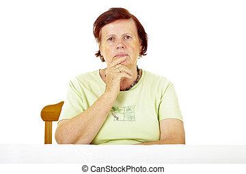 nő, öreg, gondolkodó
