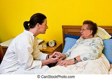 nő, öreg, gondozás, törődik