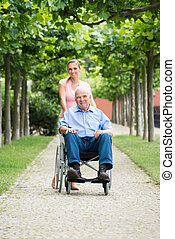 nő, öreg, neki, tolószék, atya, idősebb ember