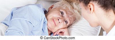nő, öregedő, ágy