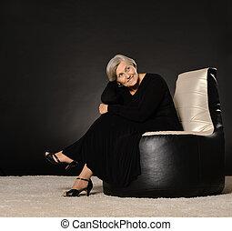 nő, öregedő, ülés, karosszék