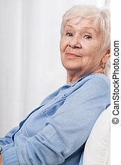 nő, öregedő, boldog