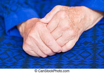 nő, öregedő, kézbesít
