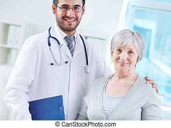 nő, öregedő, neki, orvos