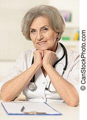nő, öregedő, orvos