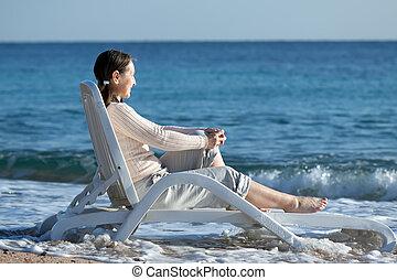 nő, öregedő, tenger