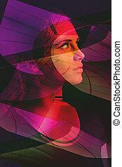 nő, összetett, fénykép, képzelet, portré, futuristic