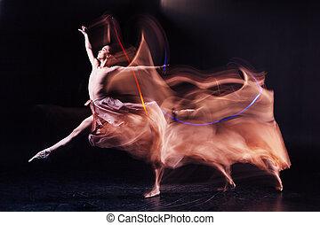 nő, ügyes, helyek, kiállítás, táncol, hajlékony