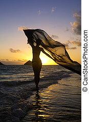 nő, a parton, -ban, napkelte