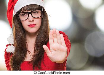 nő, abbahagy, karácsony, gesztus
