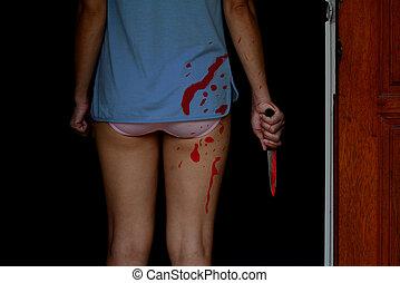 nő, ajtó, fogalom, mindenszentek napjának előestéje, véres, áll, birtok, kés