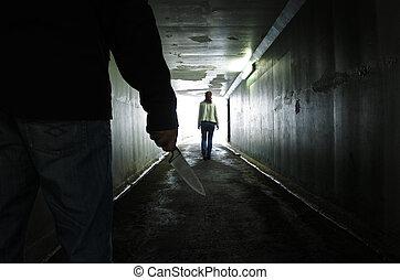 nő, alagút, követ, fiatal, sötét, szállít, kés, ember
