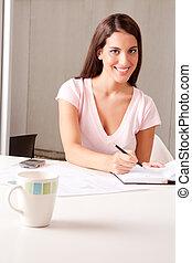 nő, alatt, üzleti találkozás