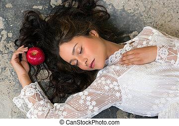 nő, alatt, befűz, ruha, noha, alma